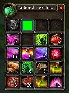 In WOW, it looks like inventory items shrink down when being moved. Here I'm simulating the effect with a green rectangle.